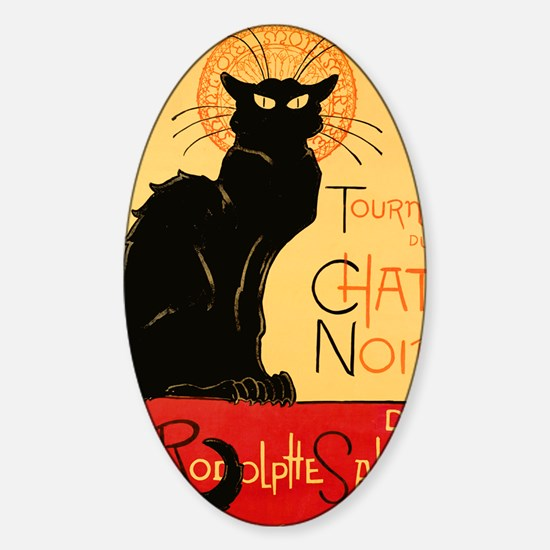 French Black Cat Sticker (Oval)