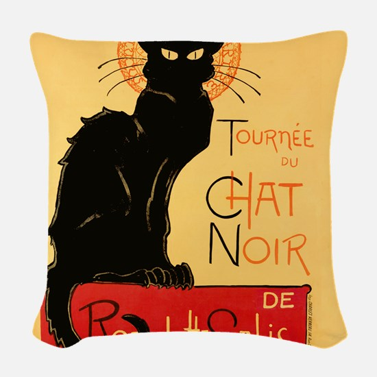 Famous black cat French Woven Throw Pillow