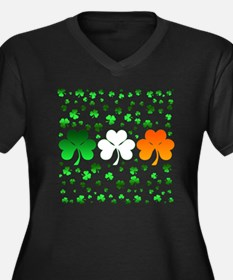 shamrocks Women's Plus Size Dark V-Neck T-Shirt