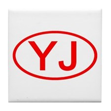 YJ Oval (Red) Tile Coaster