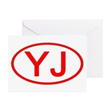 YJ Oval (Red) Greeting Cards (Pk of 10)