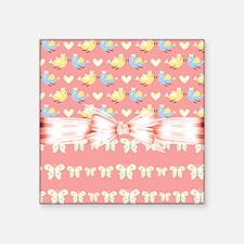 "Love Birds Love Butterflies Square Sticker 3"" x 3"""