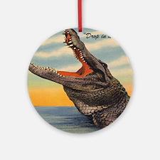 Vintage Alligator Postcard Round Ornament