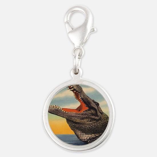 Vintage Alligator Postcard Silver Round Charm