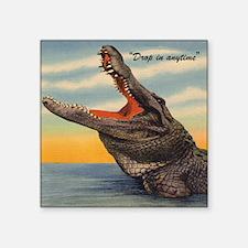 "Vintage Alligator Postcard Square Sticker 3"" x 3"""
