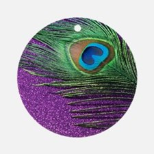 Glittery Purple Peacock Queen Round Ornament