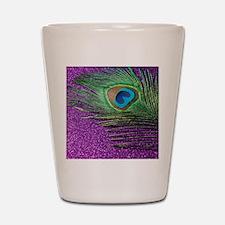 Glittery Purple Peacock Queen Shot Glass