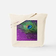 Glittery Purple Peacock Queen Tote Bag