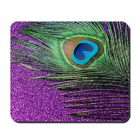 Glittery Purple Peacock Queen Mousepad