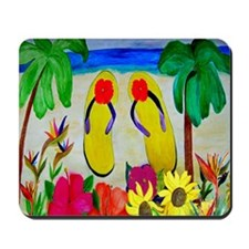 Flowers and Flip Flops Mousepad