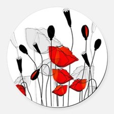 Beautiful Red Poppies Round Car Magnet