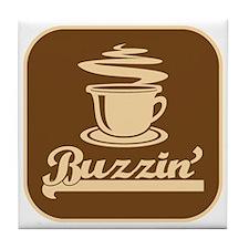 Buzzin' 70's Coffee Logo Humor Tile Coaster