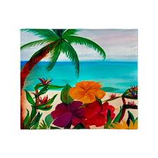 Tropical Floral Beach Throw Blanket