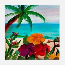 Tropical Floral Beach Tile Coaster