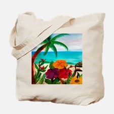 Tropical Floral Beach Tote Bag