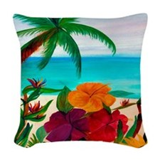 Tropical Floral Beach Woven Throw Pillow