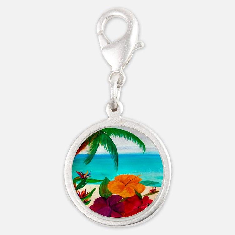 Tropical Floral Beach Silver Round Charm