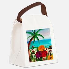 Tropical Floral Beach Canvas Lunch Bag
