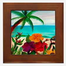 Tropical Floral Beach Framed Tile