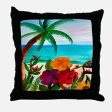 Tropical Floral Beach Throw Pillow