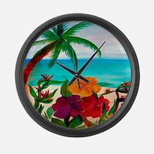 Tropical Floral Beach Large Wall Clock