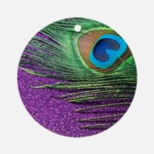 Glittery Purple Twin Round Ornament