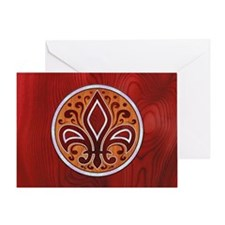 fleur-wood-inlay-OV Greeting Card