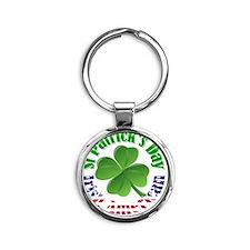 Irish American St Patrick's day Round Keychain