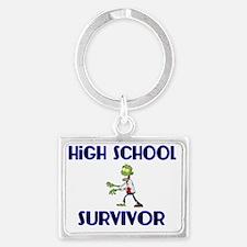 High School Survivor-Zombie-blu Landscape Keychain