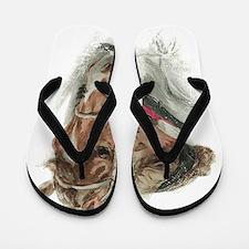Vintage Girl And Horse Flip Flops