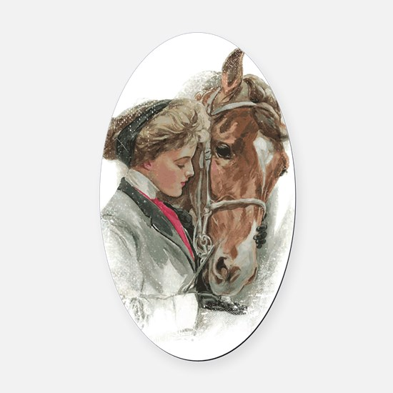 Vintage Girl And Horse Oval Car Magnet