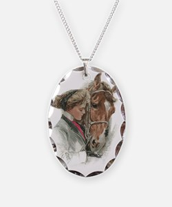 Vintage Girl And Horse Necklace
