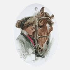 Vintage Girl And Horse Oval Ornament