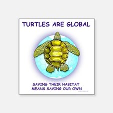"GLOBAL SEA TURTLE Square Sticker 3"" x 3"""