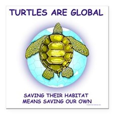 "GLOBAL SEA TURTLE Square Car Magnet 3"" x 3"""