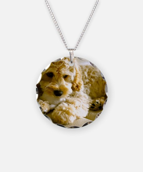 The Cockapoo Puppy Necklace Circle Charm