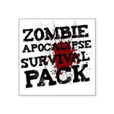 "Zombie Apocalypse Survival  Square Sticker 3"" x 3"""