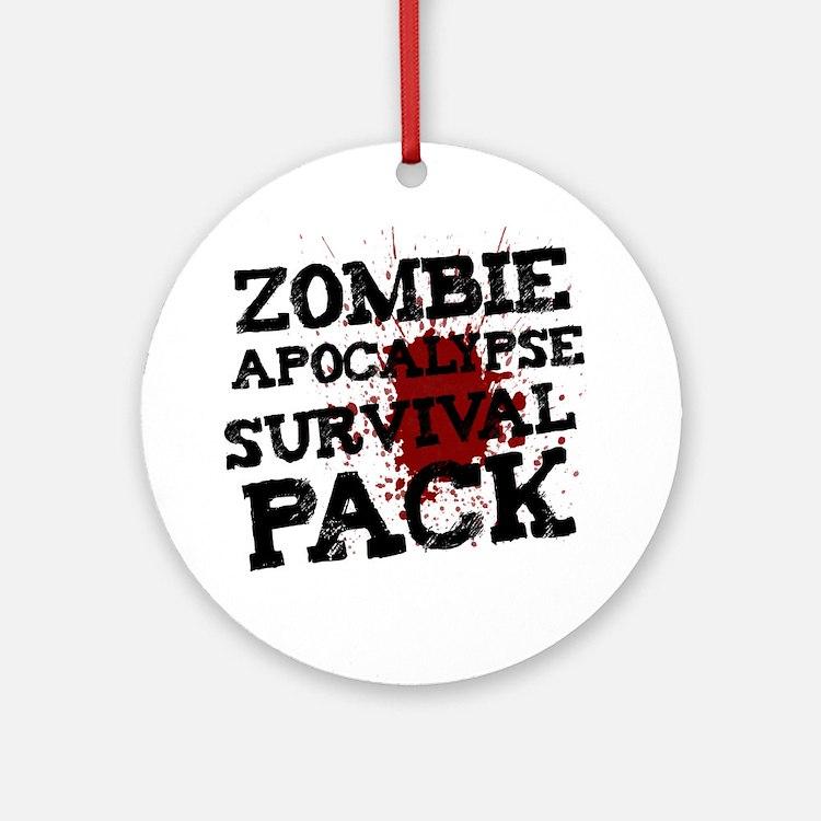 Zombie Apocalypse Survival Pack Round Ornament