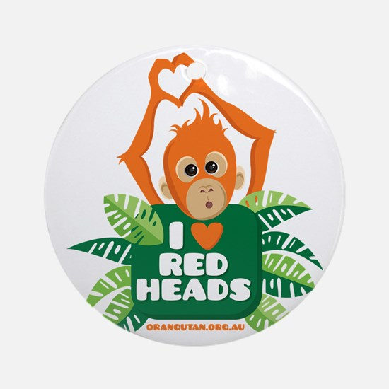 I Love (heart) Red ... Round Ornament