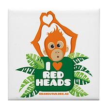 I Love (heart) Red ... Tile Coaster