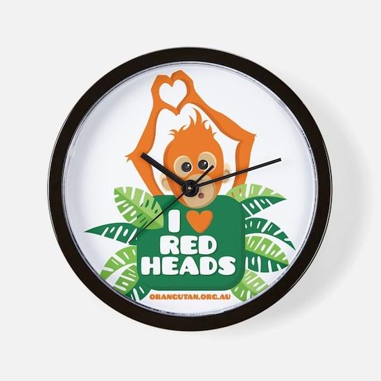 I Love (heart) Red ... Wall Clock