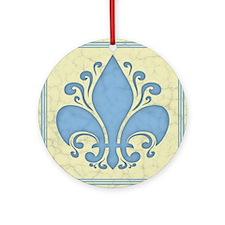 fleur-antique-blu-PLLO Round Ornament