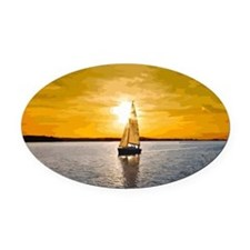 Sailing into the sunset Oval Car Magnet