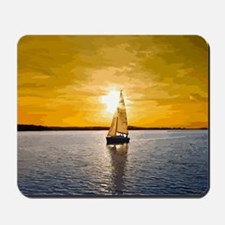 Sailing into the sunset Mousepad