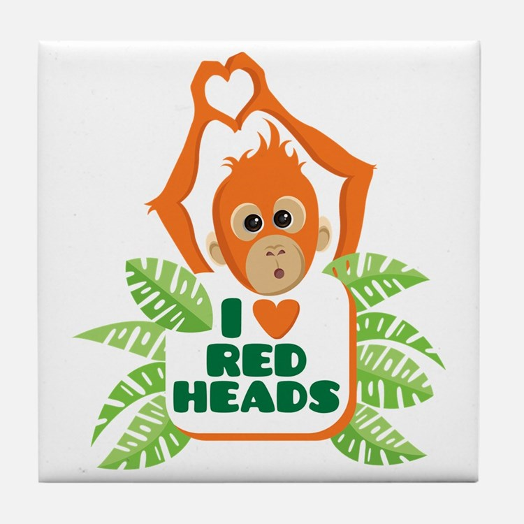 I Love (heart) Red H... Tile Coaster