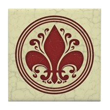 fleur-antique-red-BUT Tile Coaster