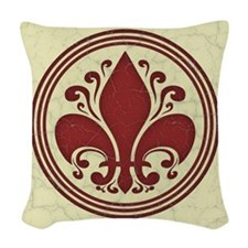 fleur-antique-red-BUT Woven Throw Pillow