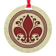 fleur-antique-red-BUT Round Ornament
