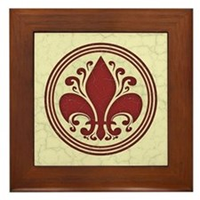 fleur-antique-red-BUT Framed Tile