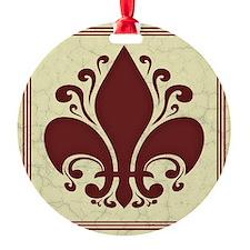 fleur-antique-red-PLLO Round Ornament